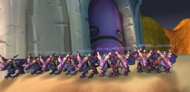 Gingersnap's (and friends) raid team! There are actually 10 in this picture... one's head is turned.